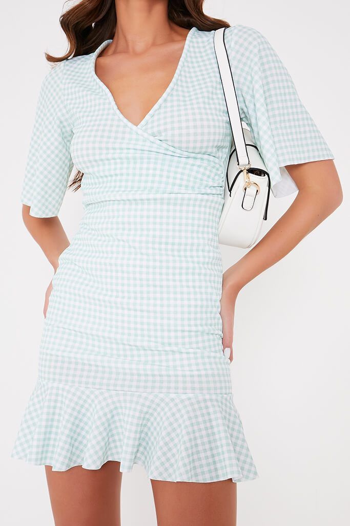 Sage Gingham Flutter Sleeve Wrap Frill Dress view 5