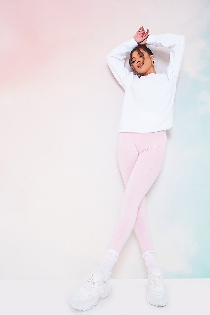 Baby Pink High Waistband Pintuck Leggings