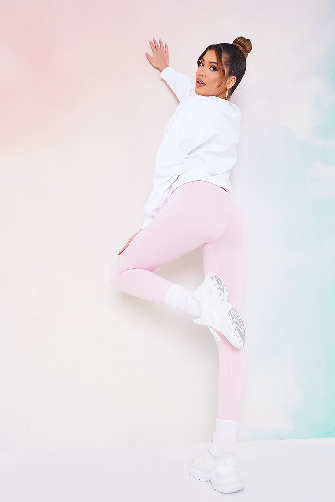 Baby Pink High Waistband Pintuck Leggings view 3