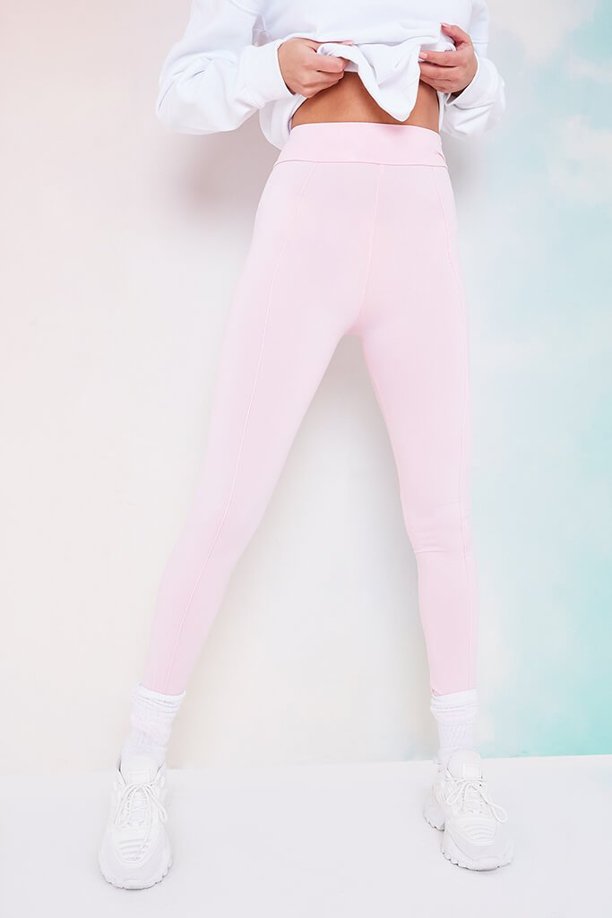 Baby Pink High Waistband Pintuck Leggings view 4