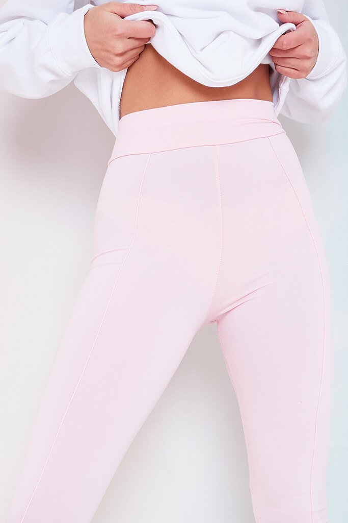 Baby Pink High Waistband Pintuck Leggings view 5