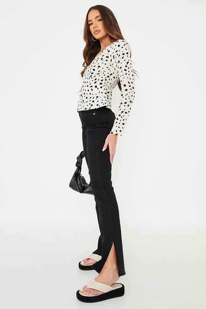 White Dalmation Print Long Sleeve Button Front Blouse view 3