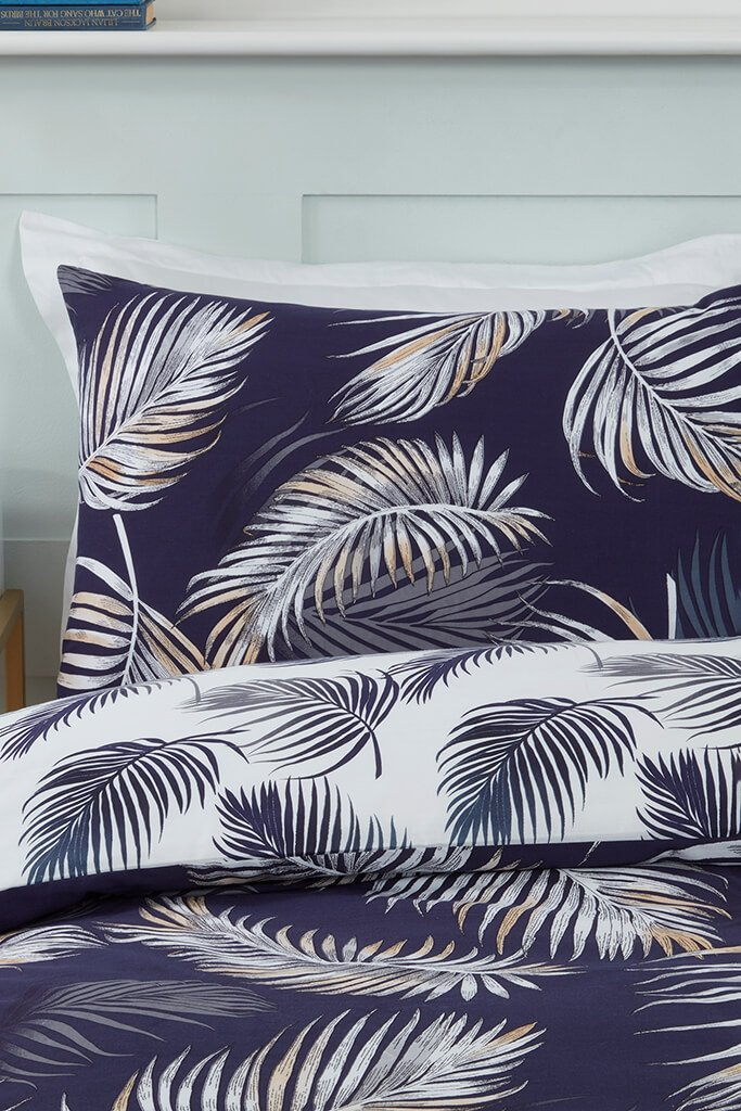Navy Single Palm Print Duvet Set view 3