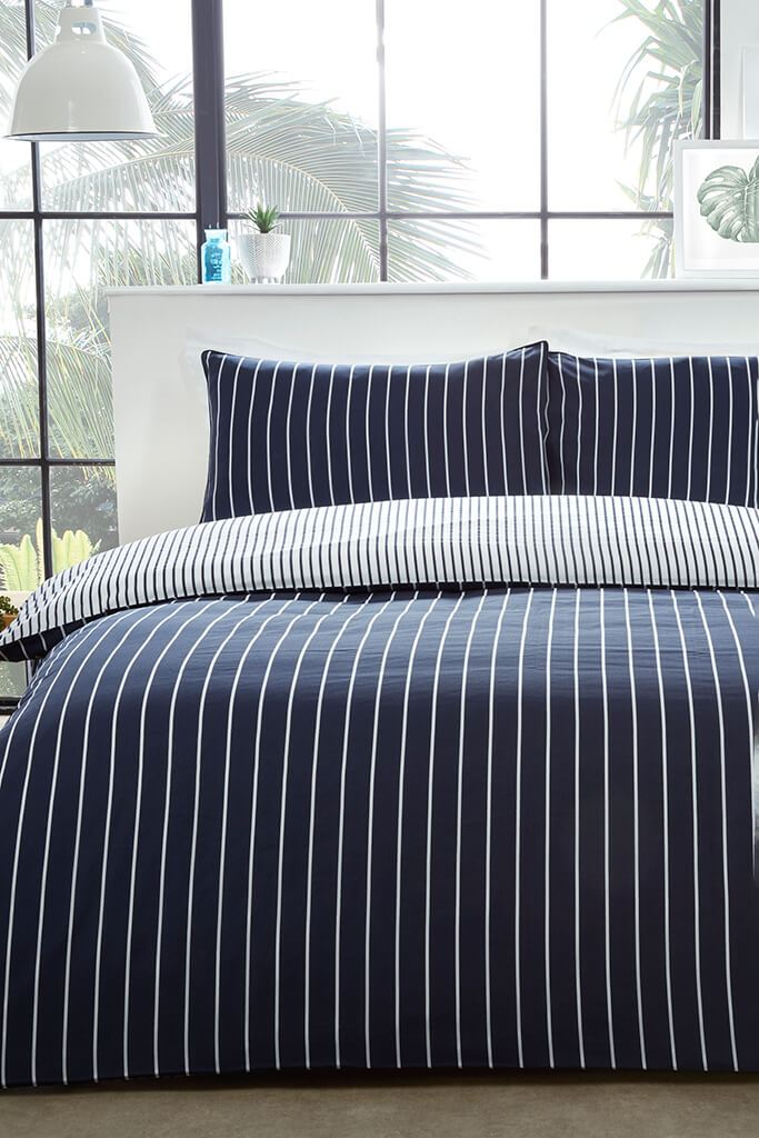 Blue Super King Size Mini Stripe Duvet Set