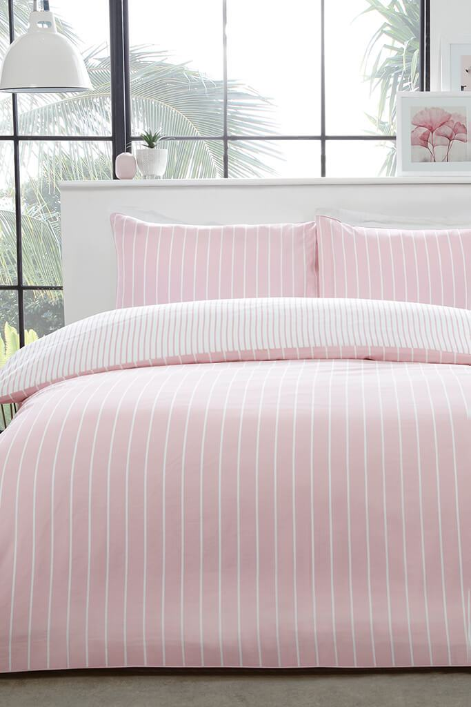Blush Pink Super King Size Mini Stripe Duvet Set view 2