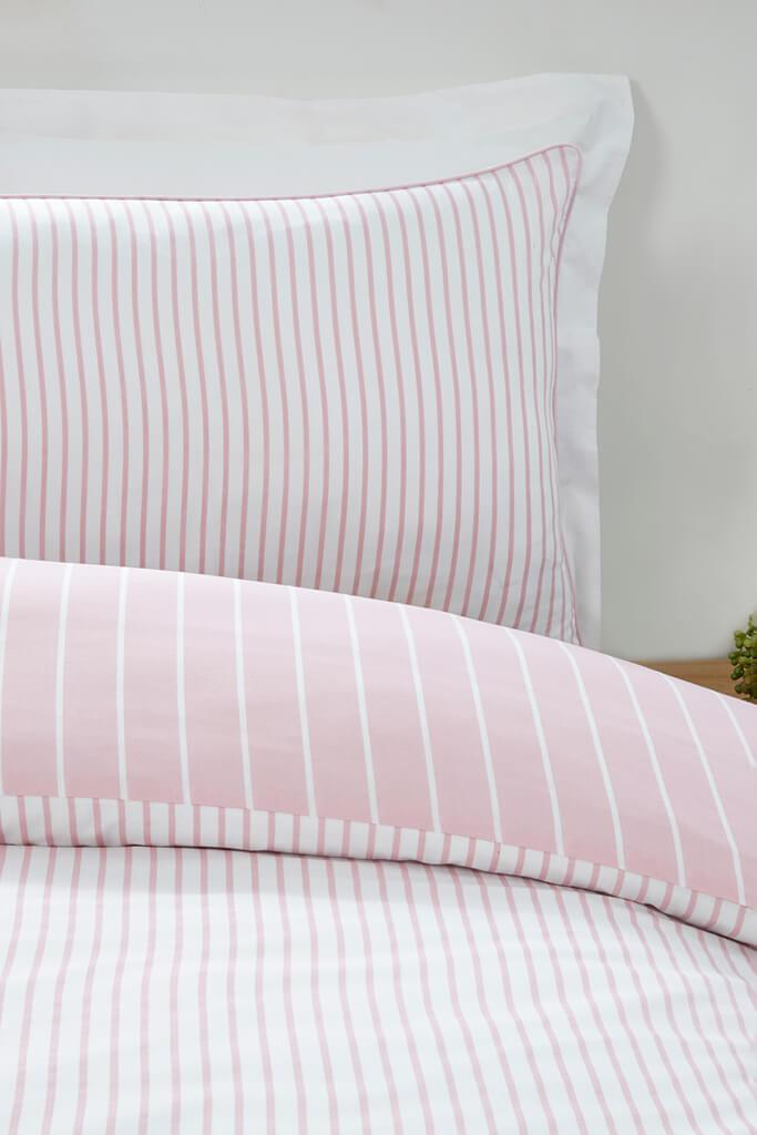 Blush Pink Super King Size Mini Stripe Duvet Set view 3