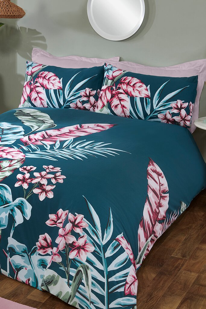 Teal Double Large Tropical Leaf Panel Duvet Set view main view