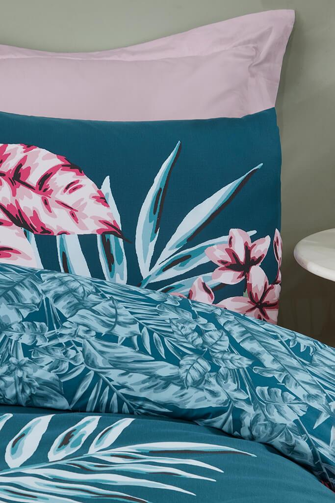 Teal Double Large Tropical Leaf Panel Duvet Set view 2