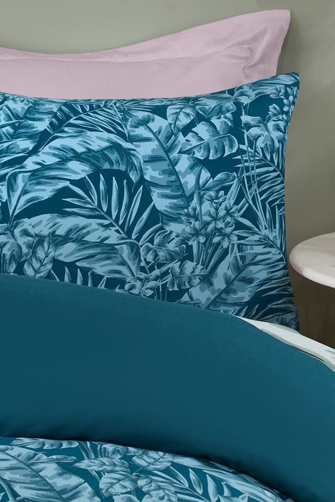 Teal Double Large Tropical Leaf Panel Duvet Set view 3