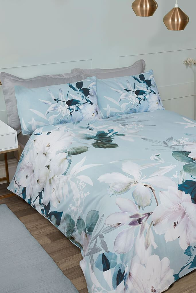 Blue Single Large Floral Duvet Set