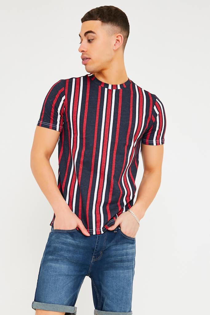 Navy Men's Vertical Striped T-Shirt