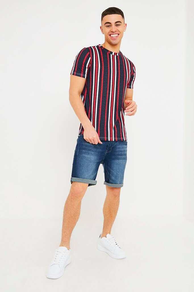 Navy Men's Vertical Striped T-Shirt view 2
