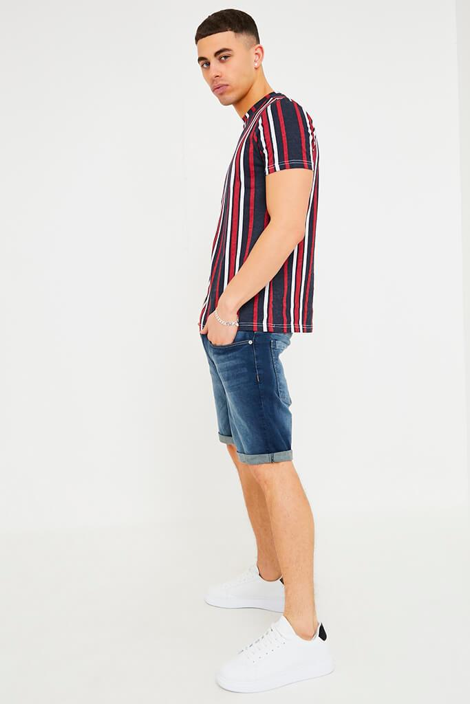 Navy Men's Vertical Striped T-Shirt view 3