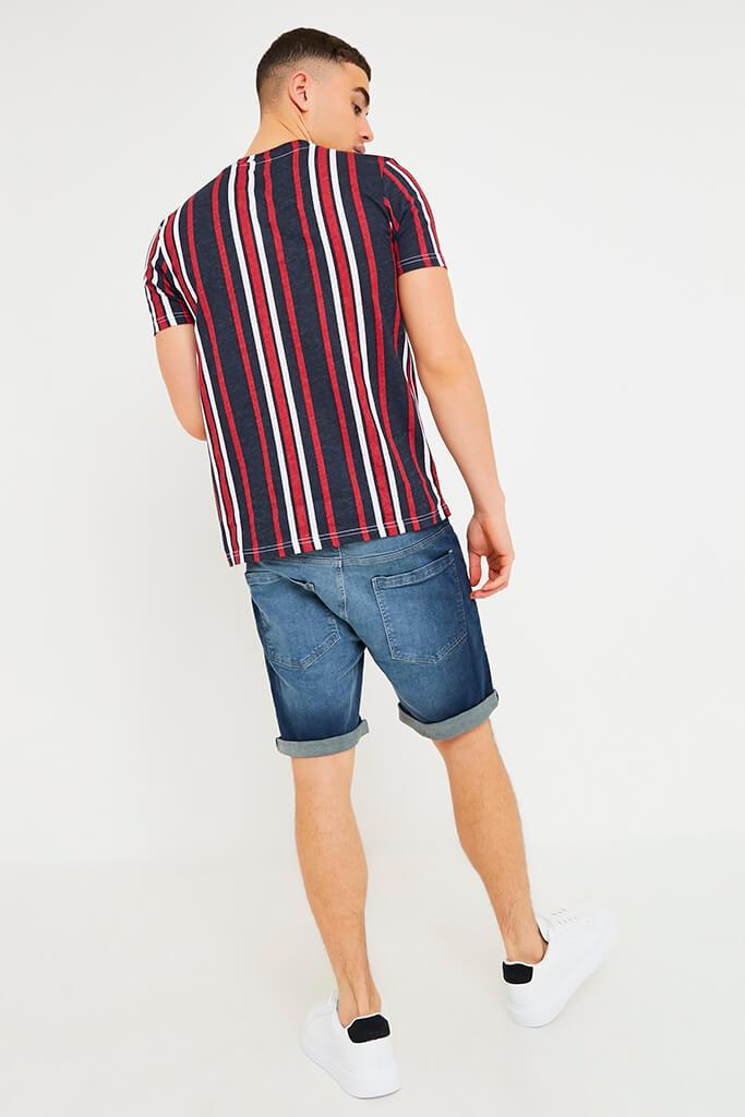 Navy Men's Vertical Striped T-Shirt view 4