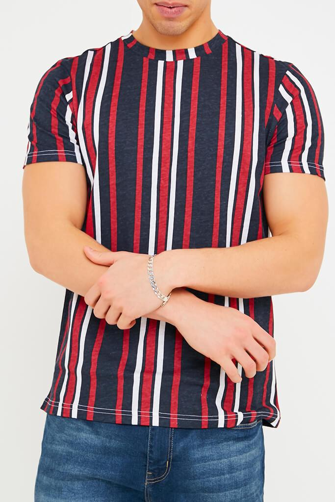 Navy Men's Vertical Striped T-Shirt view 5