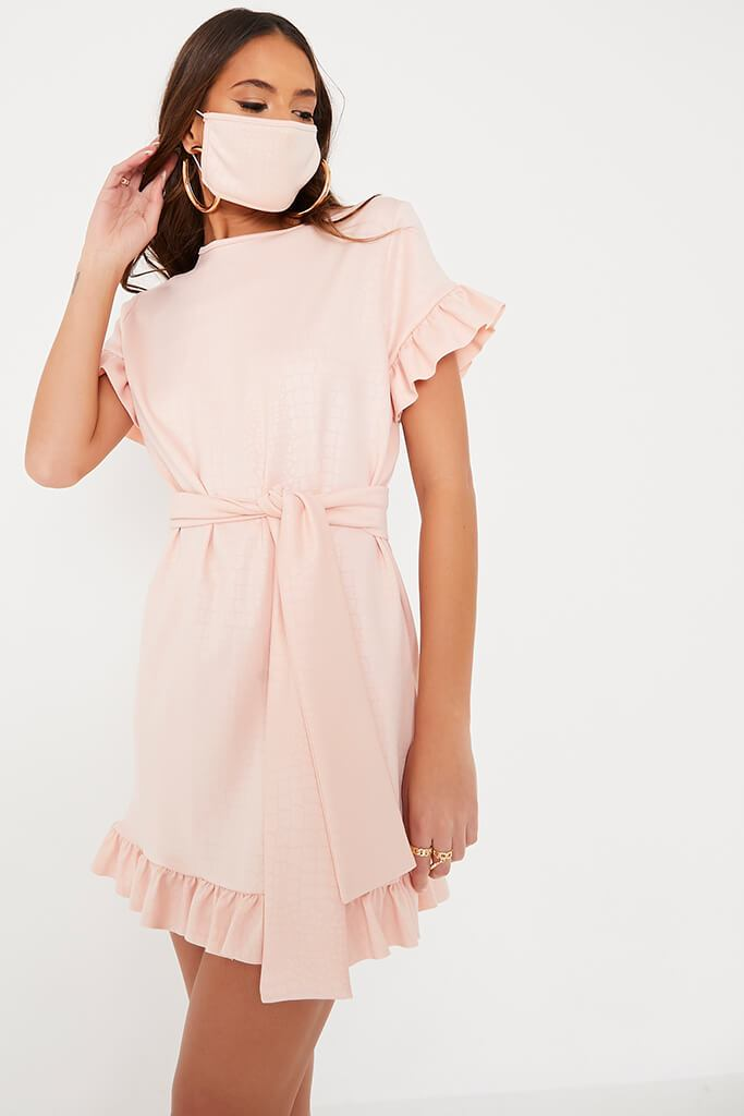 Pink Croc Belted Tea Dress