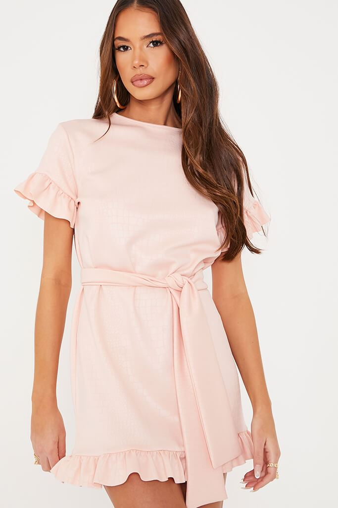 Pink Croc Belted Tea Dress view 5