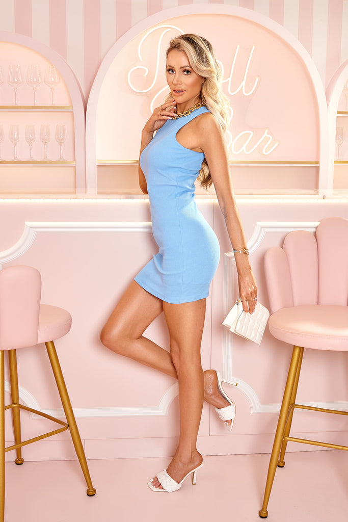 Blue Crinkle Rib Racer Neck Bodycon Dress view main view