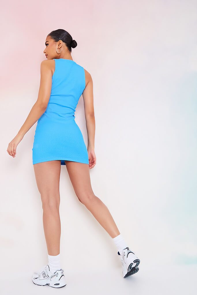 Blue Crinkle Rib Racer Neck Bodycon Dress view 4