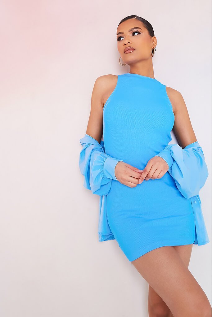 Blue Crinkle Rib Racer Neck Bodycon Dress view 2