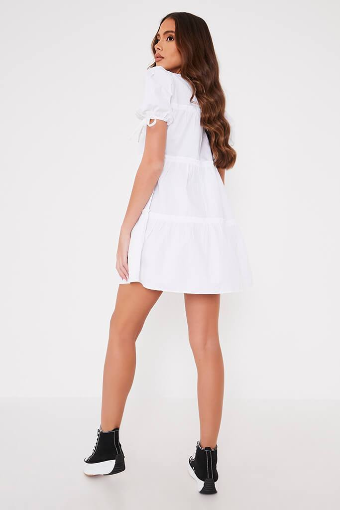 White Woven Frill Detail Tiered Smock Dress view 4