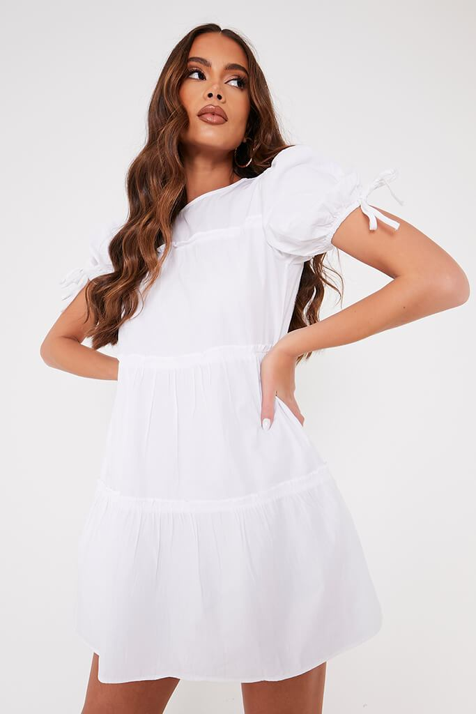 White Woven Frill Detail Tiered Smock Dress