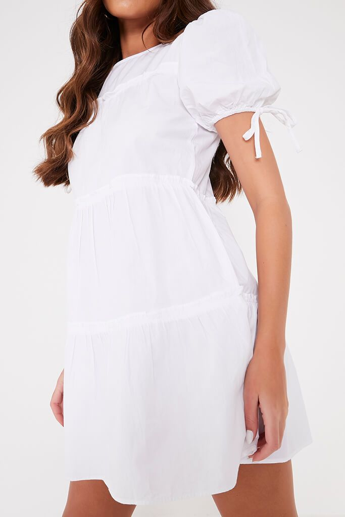 White Woven Frill Detail Tiered Smock Dress view 5