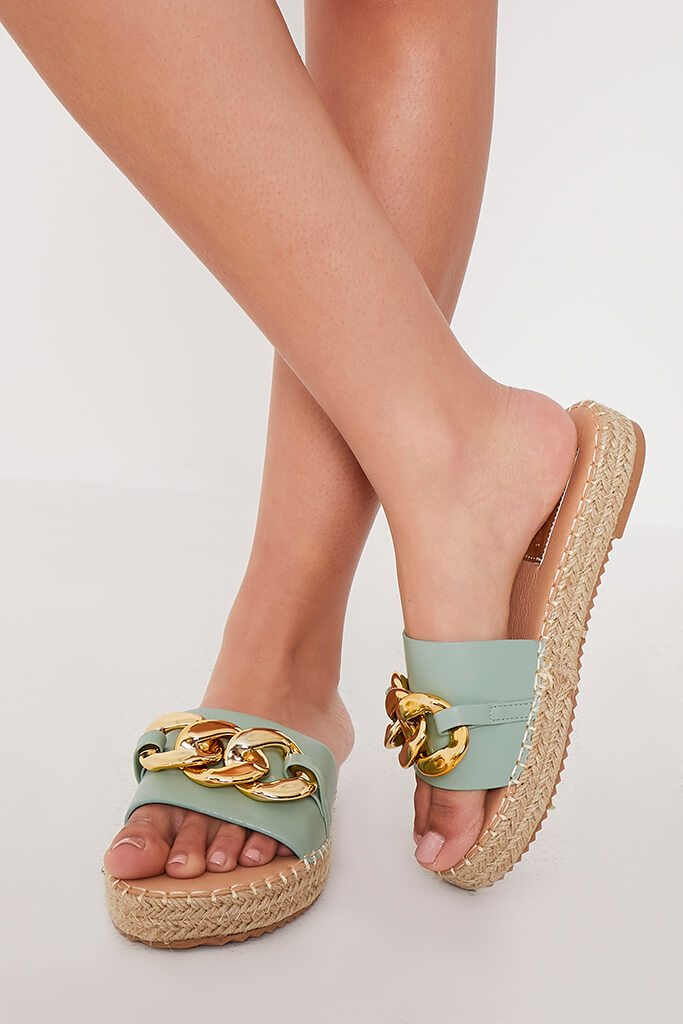 Sage Chain Espadrille Flatform Sandals view main view