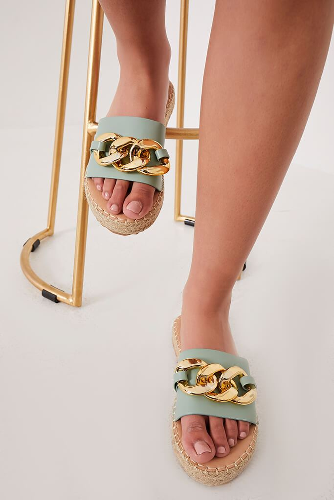 Sage Chain Espadrille Flatform Sandals view 3