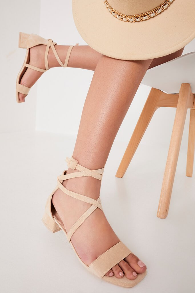 Beige Cross Over Mid Heeled Sandals view main view