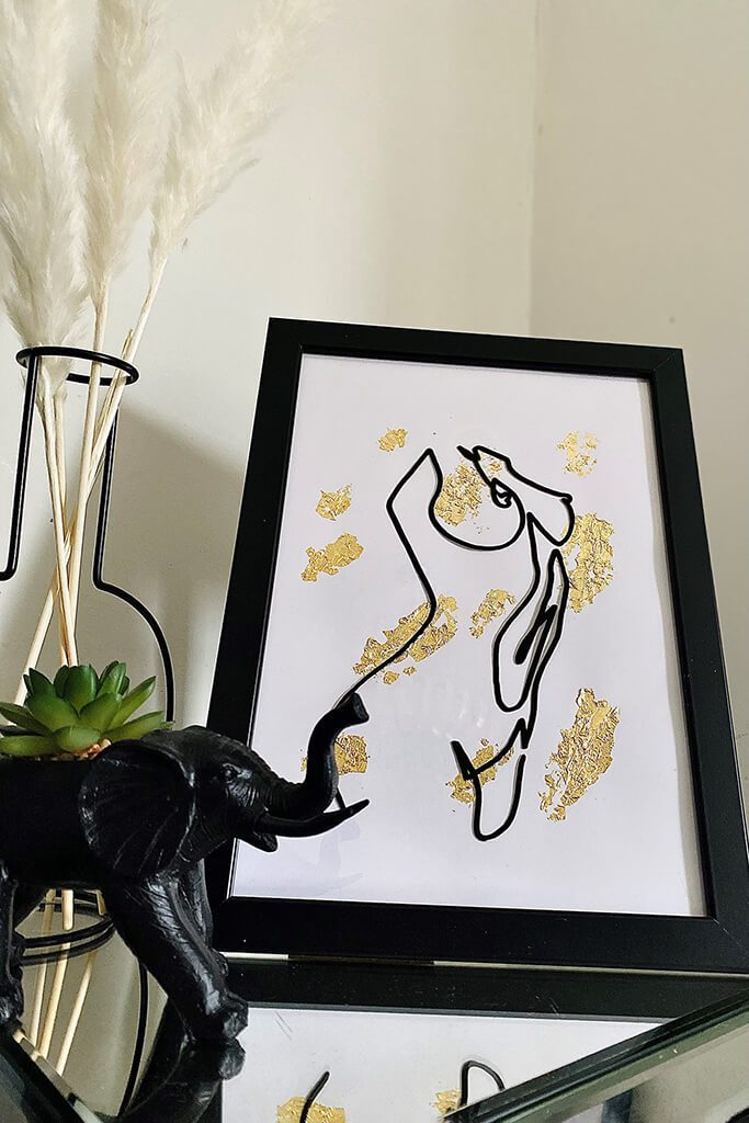 Gold Handmade By Jade Framed Gold Line Art Figure Print