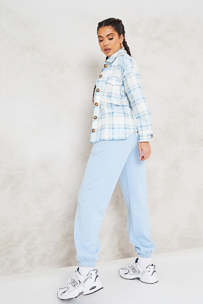 Blue Pastel Brushed Check Shacket view 3