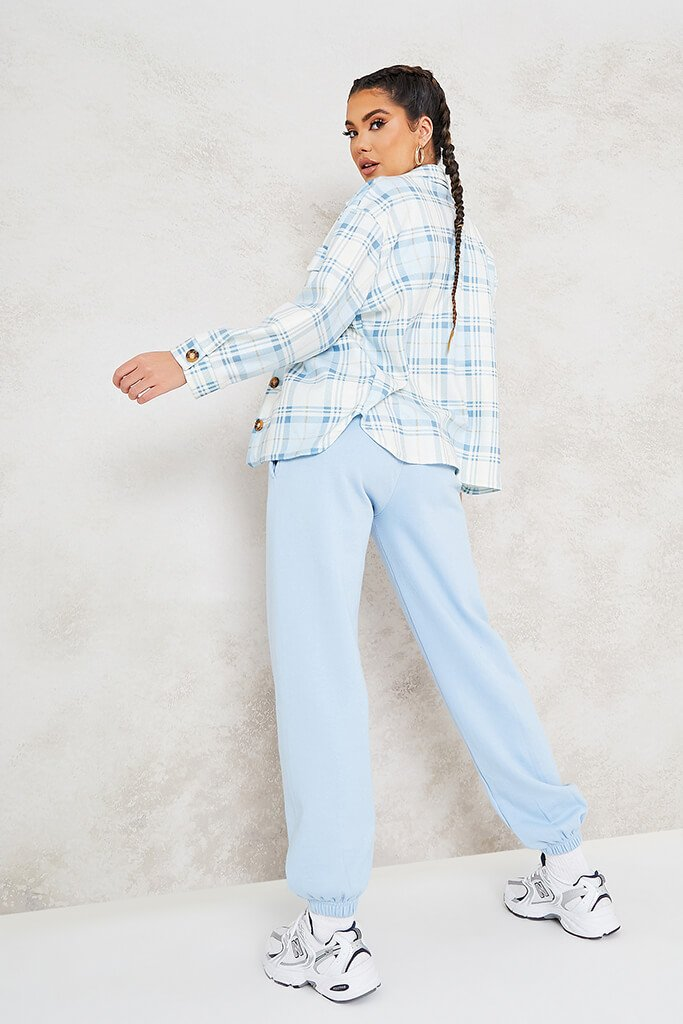 Blue Pastel Brushed Check Shacket view 4