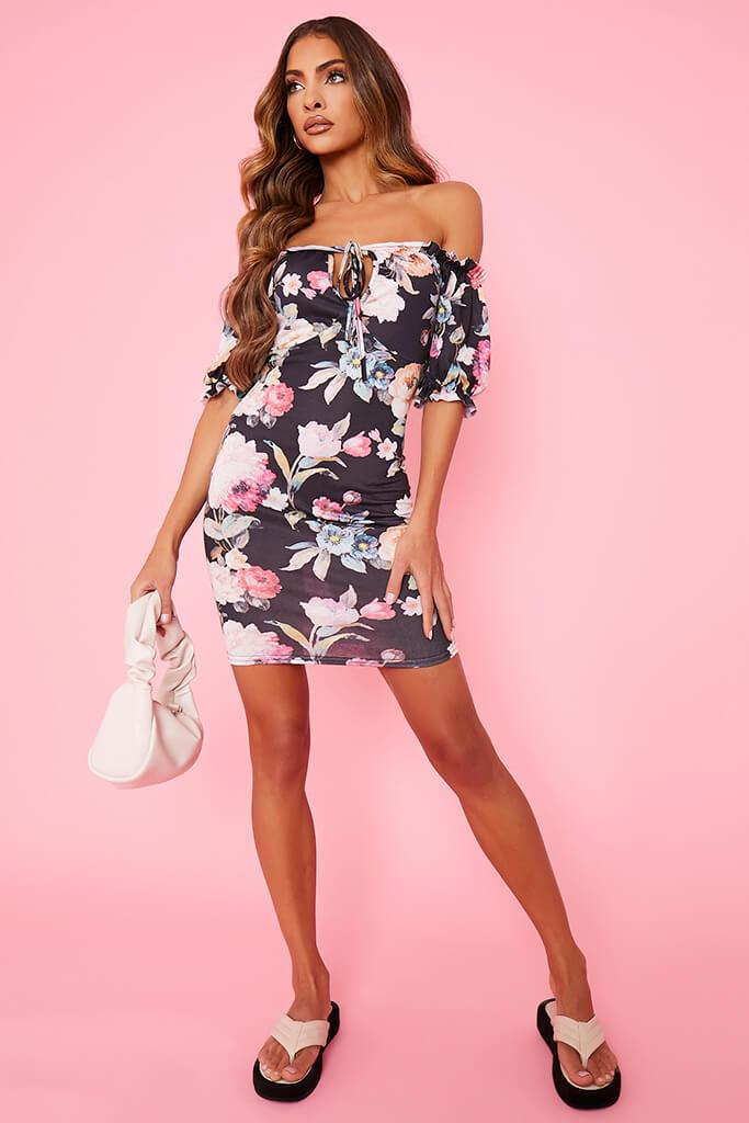 Black Floral Bardot Tea Dress view 2