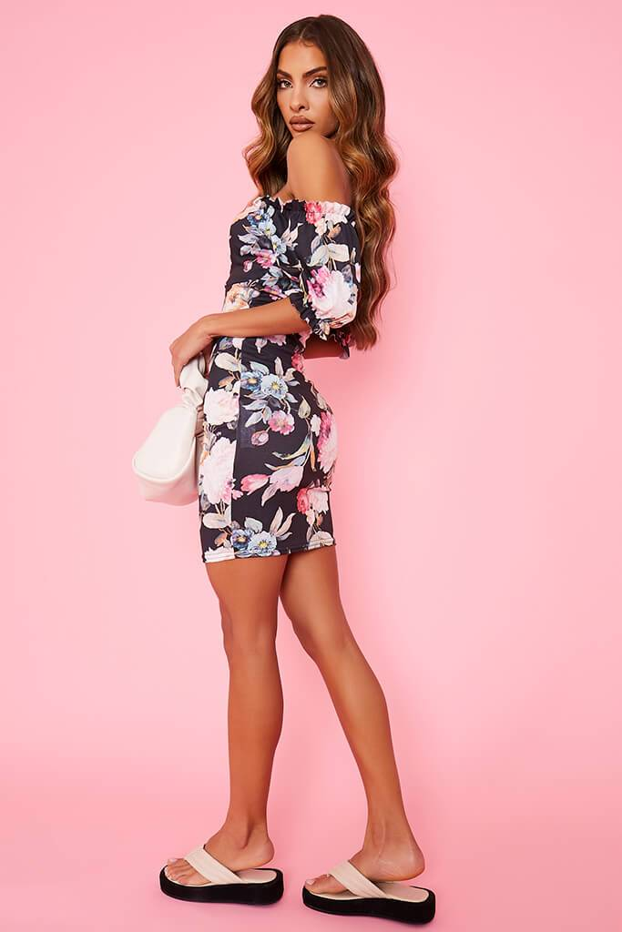 Black Floral Bardot Tea Dress view 3