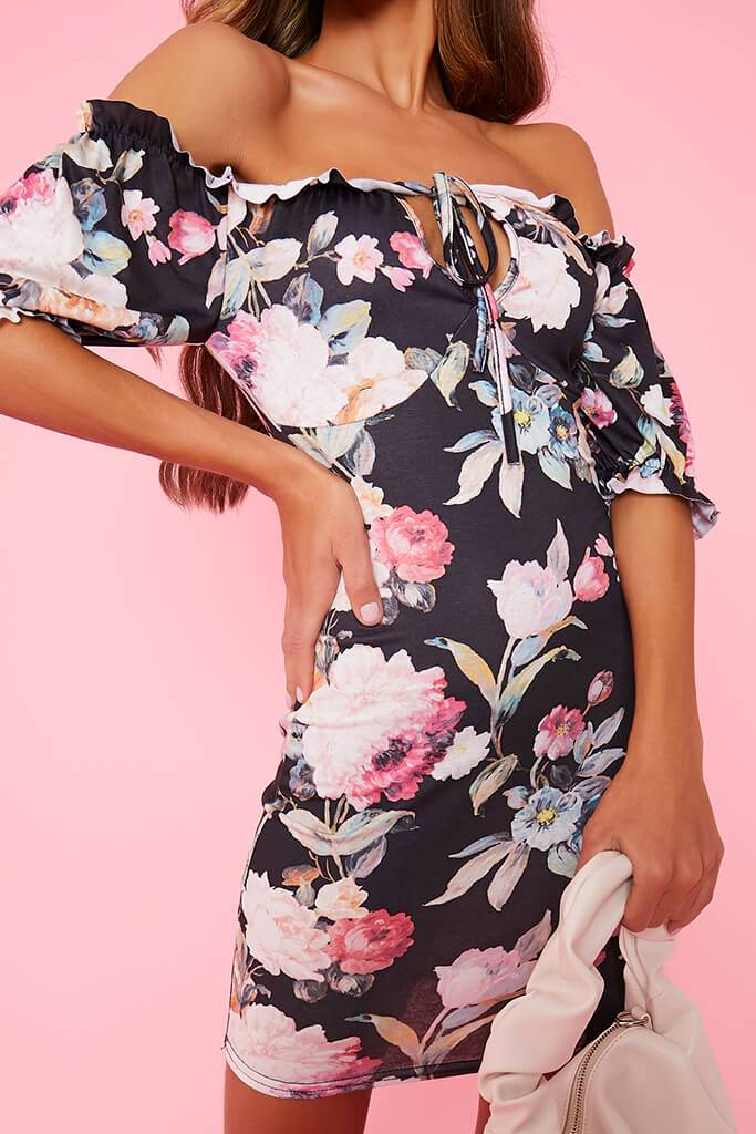 Black Floral Bardot Tea Dress view 5