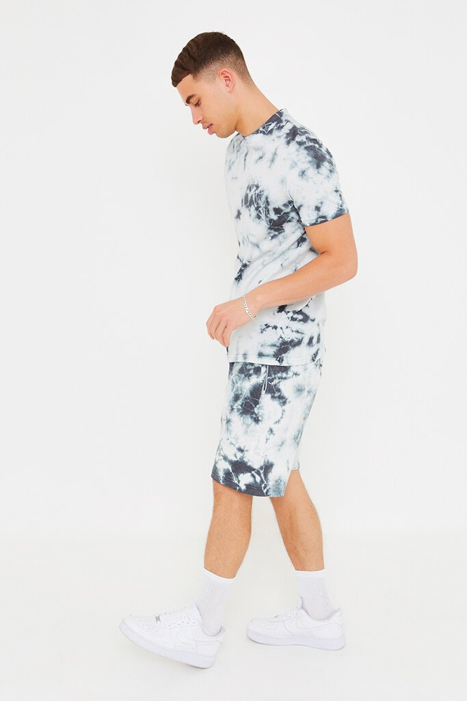 Khaki Men's Tie Dye T-Shirt And Shorts Set view 3
