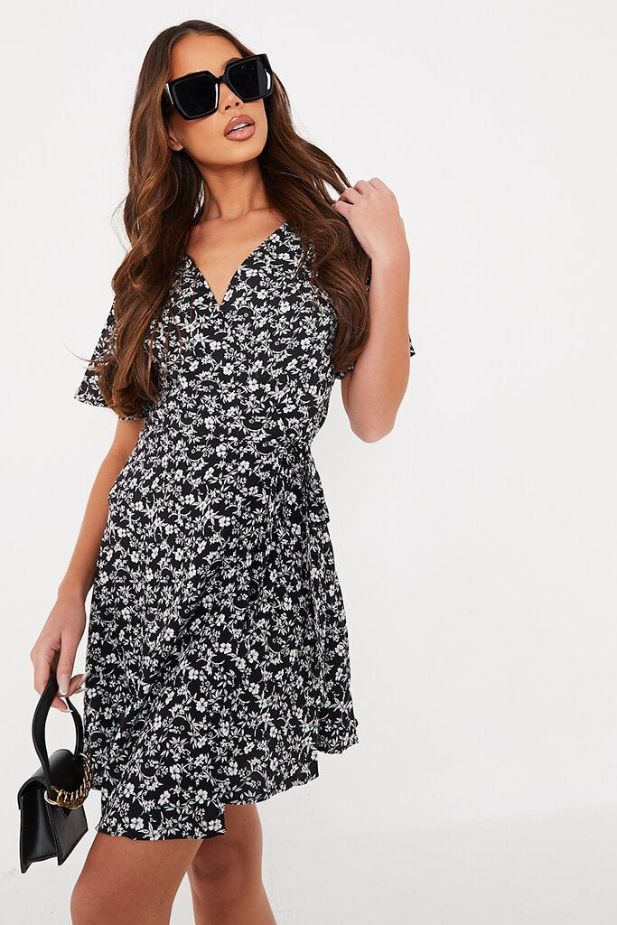 Black Woven Ditsy Floral Wrap Front Tea Dress view main view