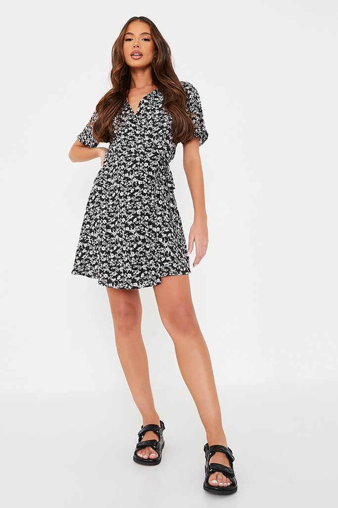 Black Woven Ditsy Floral Wrap Front Tea Dress view 2