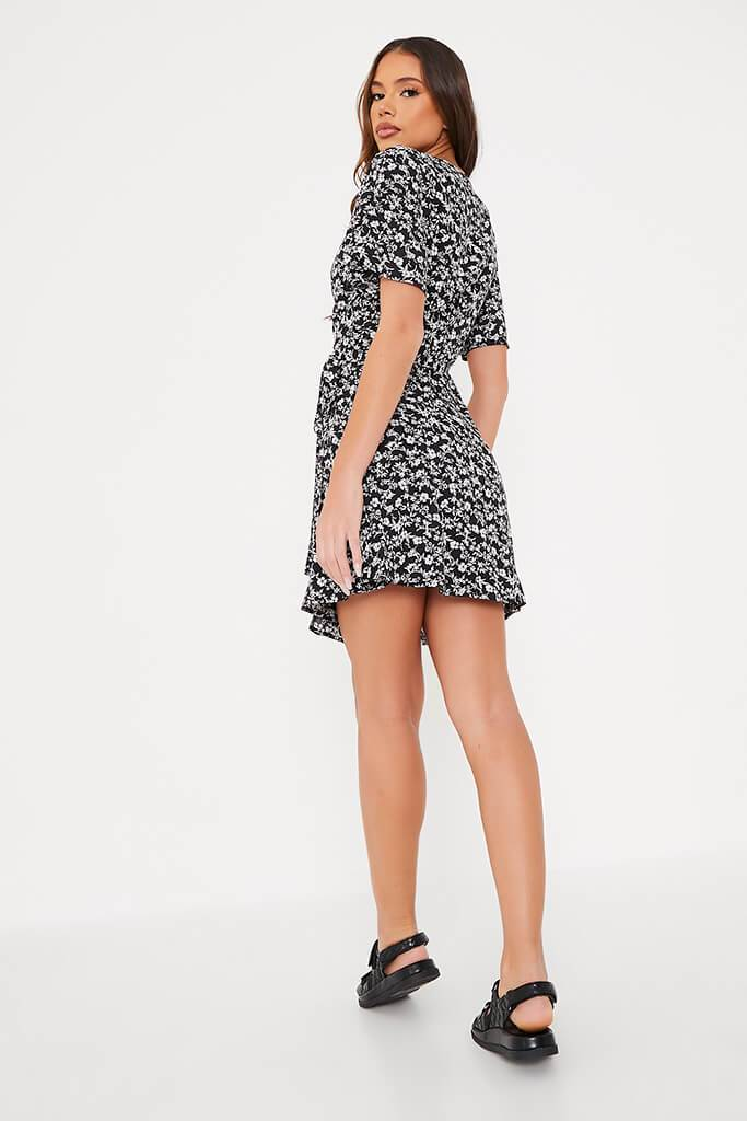Black Woven Ditsy Floral Wrap Front Tea Dress view 4