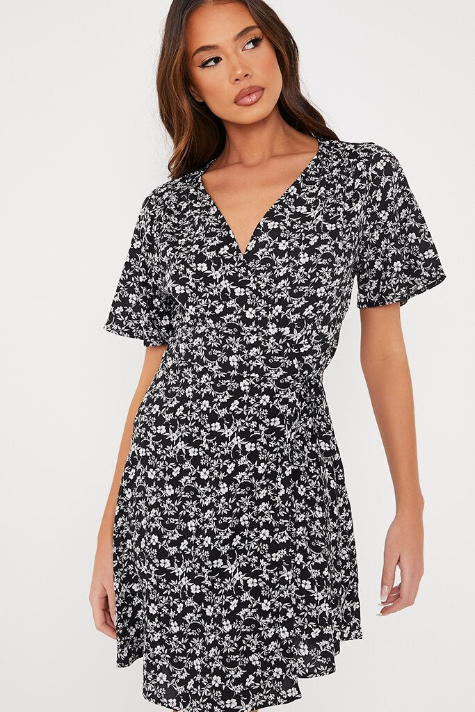 Black Woven Ditsy Floral Wrap Front Tea Dress view 5