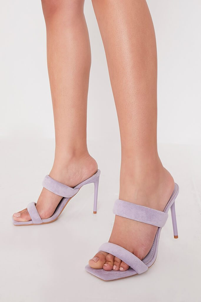 Lilac Double Strap High Heeled Sandals