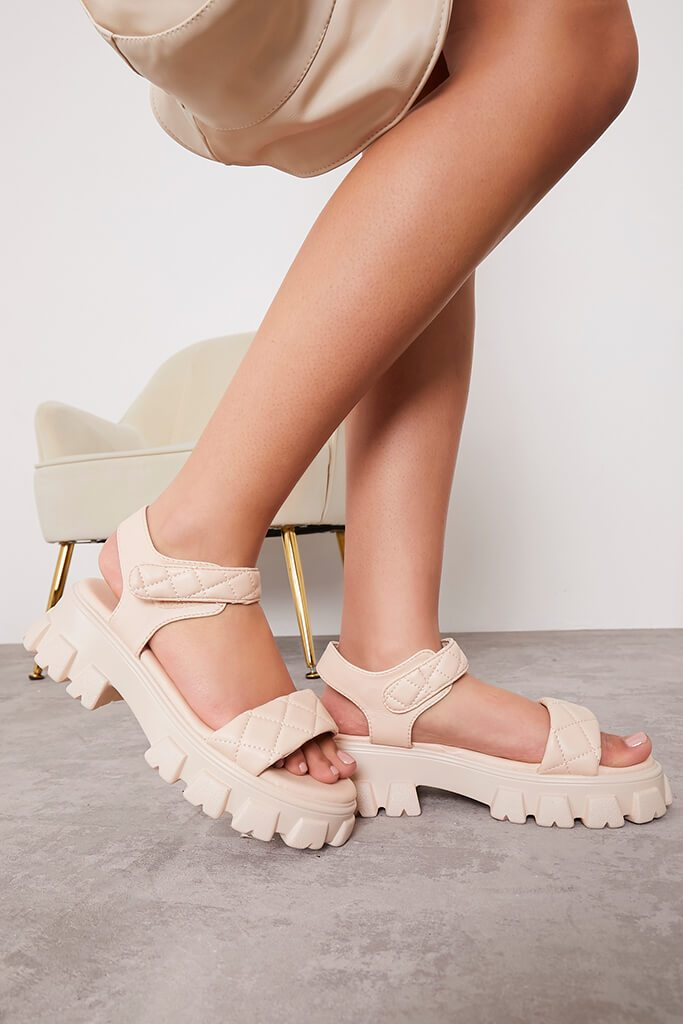 Stone Chunky Sole Quilted Strap Sporty Sandals view 3