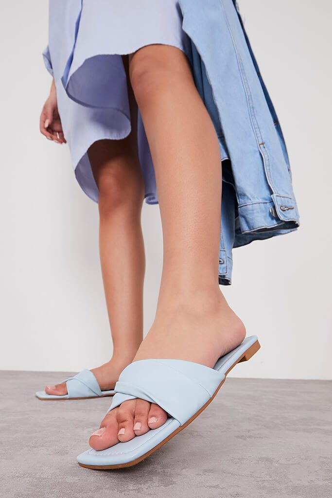 Blue Folded Upper Flat Sandals view main view