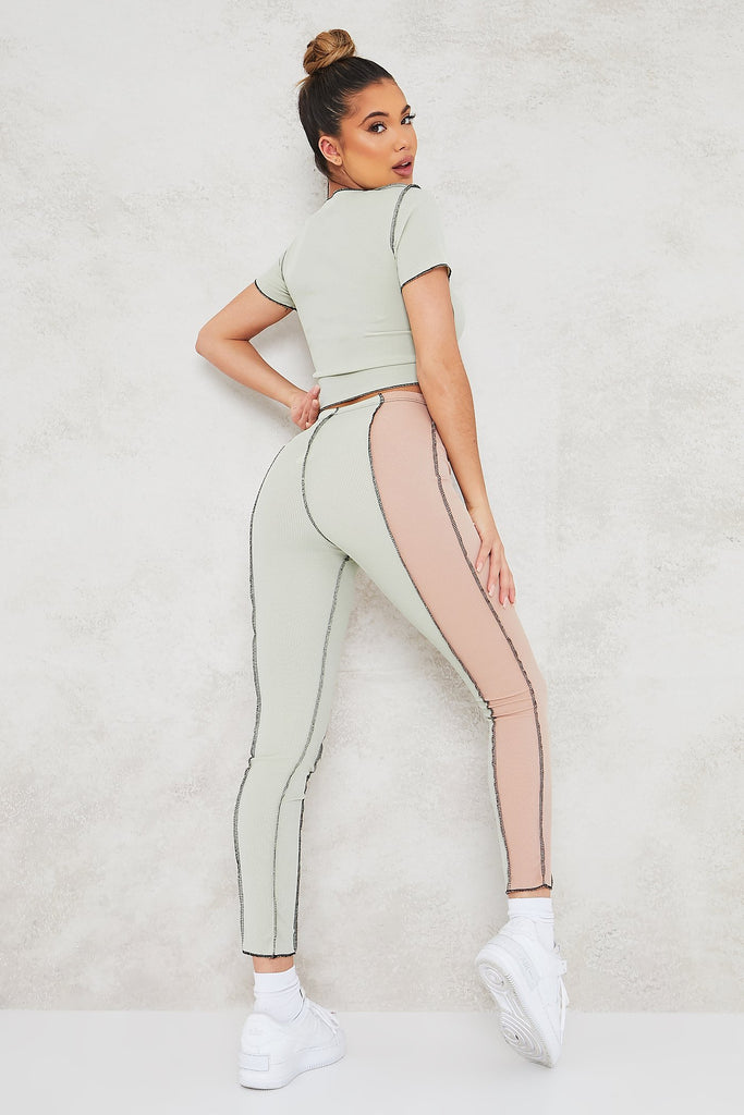 Sage Ribbed Exposed Seam Colour Block Crop Top And Legging Set view 4