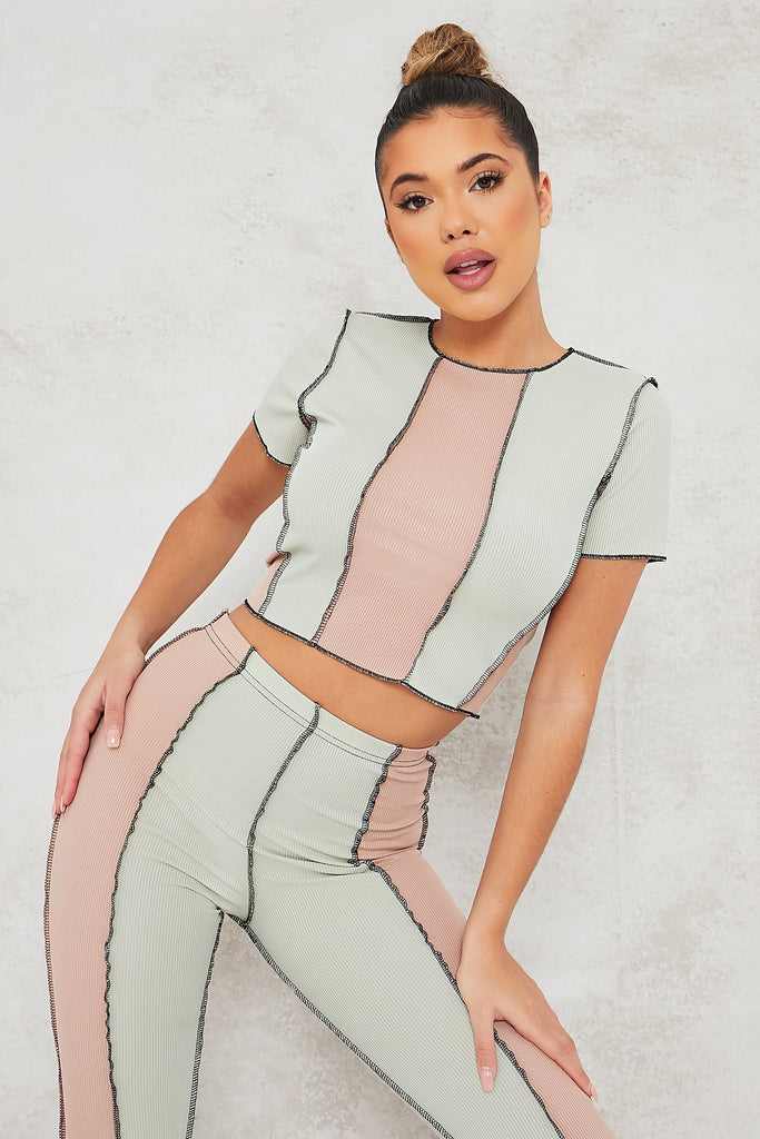 Sage Ribbed Exposed Seam Colour Block Crop Top And Legging Set view 2