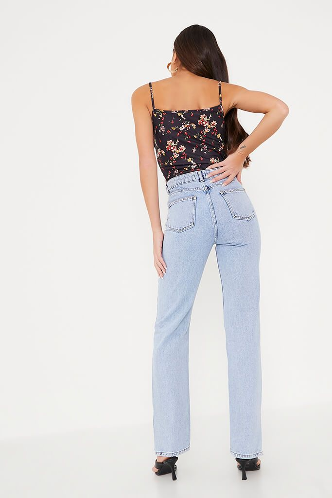 Black Ditsy Floral Ruched Bust Crop Top view 4
