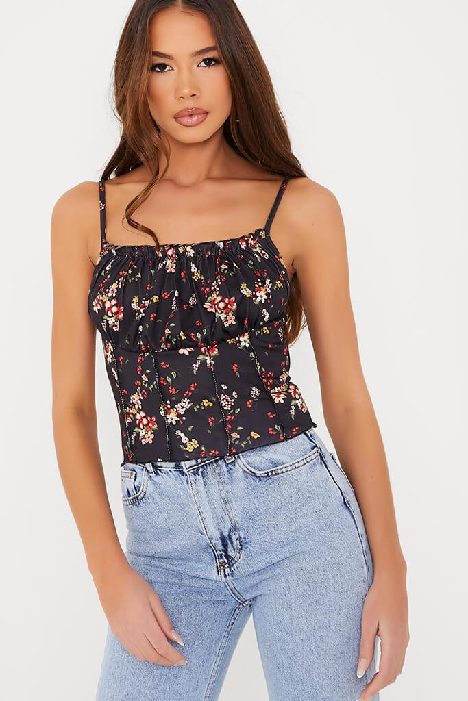 Black Ditsy Floral Ruched Bust Crop Top view 5