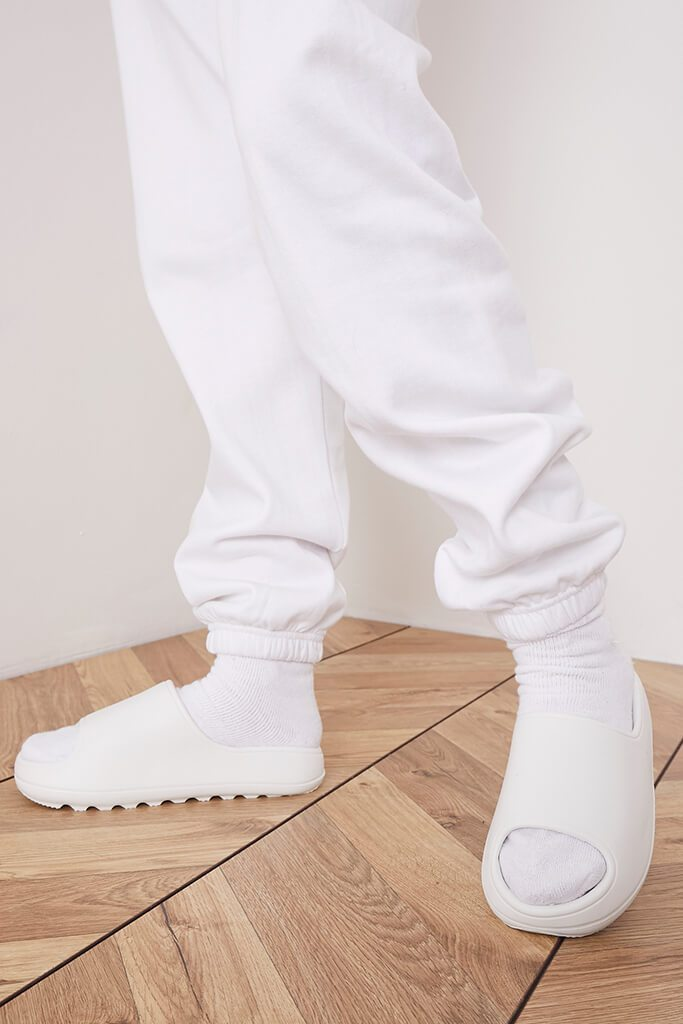 White Rubber Ribbed Sole Sliders view 2