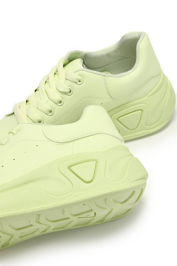 Lime Green Chunky Flatform Trainers view 3